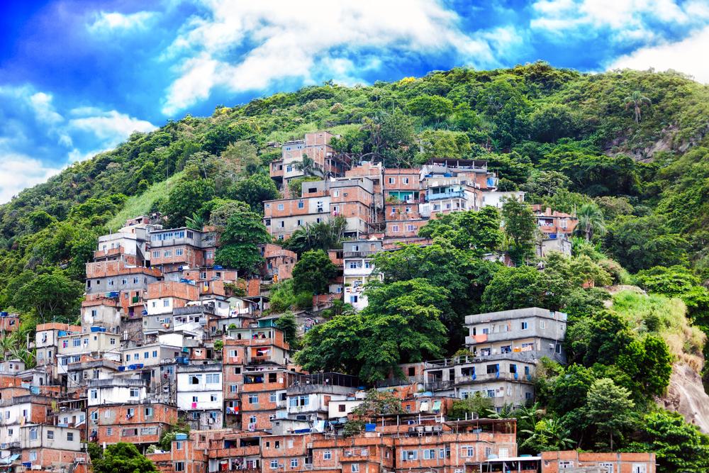 Favela in Rio built on a mountain