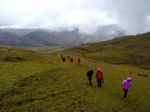 People walking the Lares Trail.