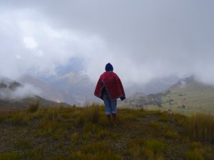 Trekker in the clouds, on the Lares Adventure.