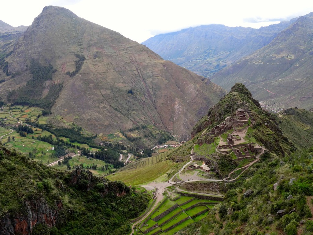 Looking down at ancient ruins from the Andes Mountains.