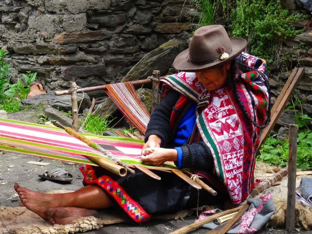 Local Peruvian Lady weaving.
