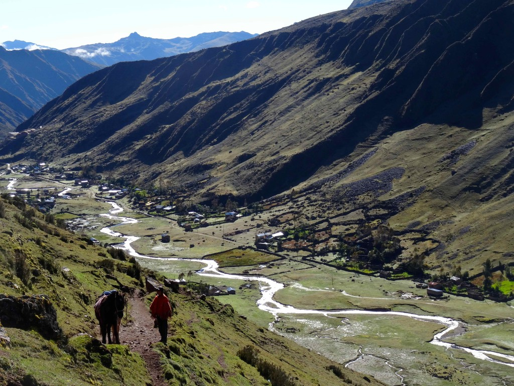 Beautiful view of the Andes Mountains on the Lares Trail.