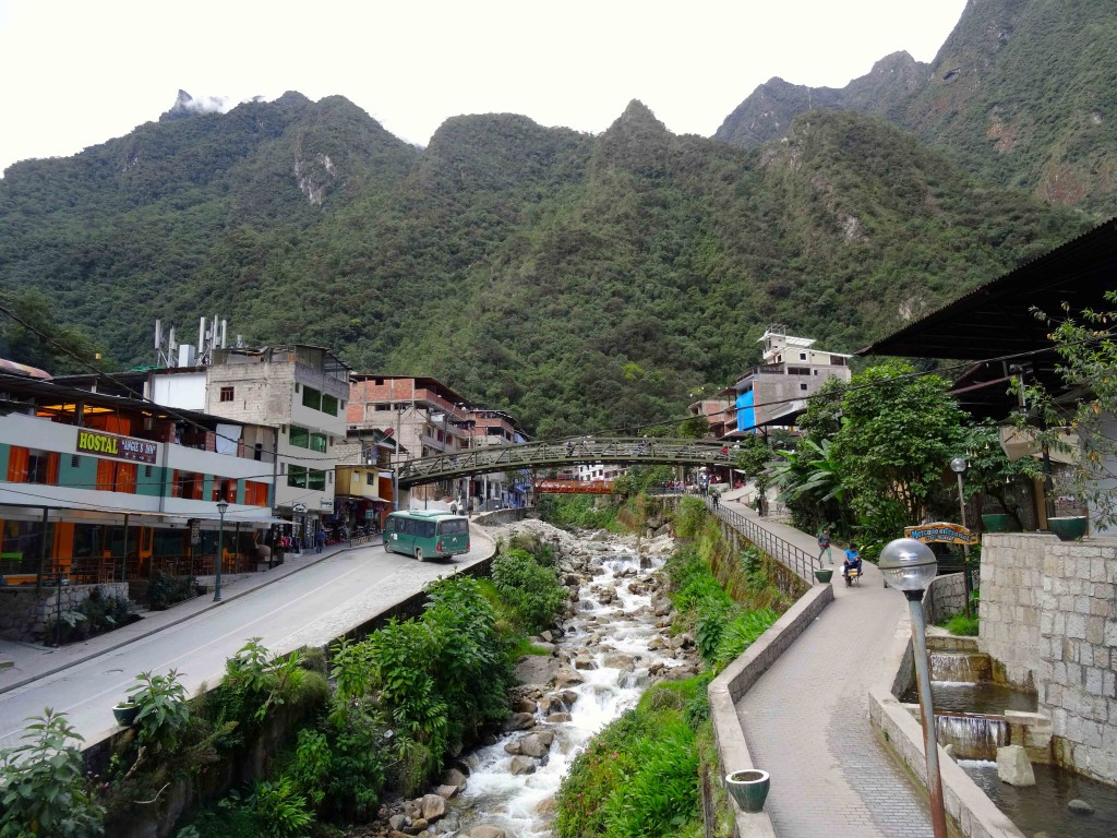Passing AGUAS-CALIENTES on the Lares Trail.