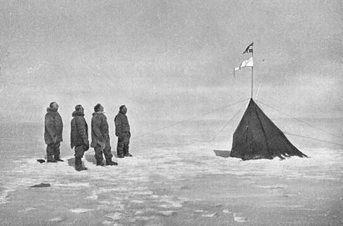 explorers with tent in Antarctica