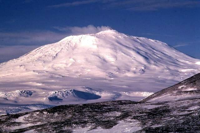 Mt Erebus volcano in Antarctica
