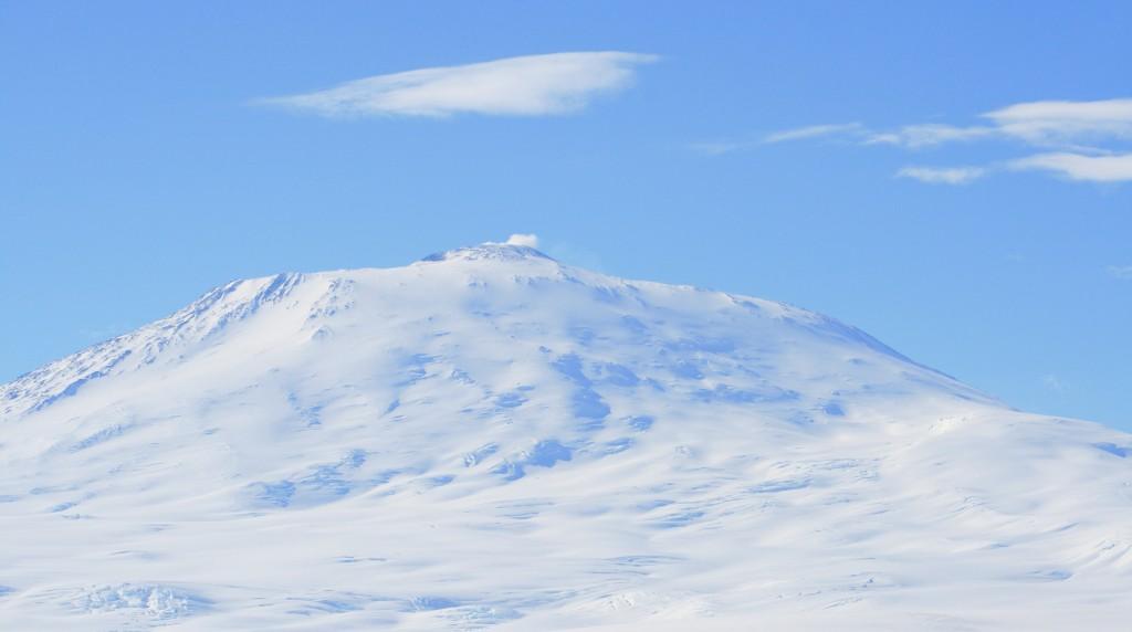 Mount Erebus in the polar region of Antarctica