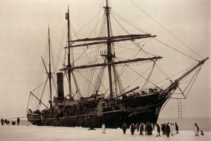 SY Aurora at the edge of the Shackleton Ice Shelf. Photocredit: Frank Hurley