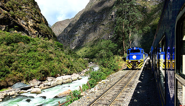 Railway to Machu Picchu and Urubamba River