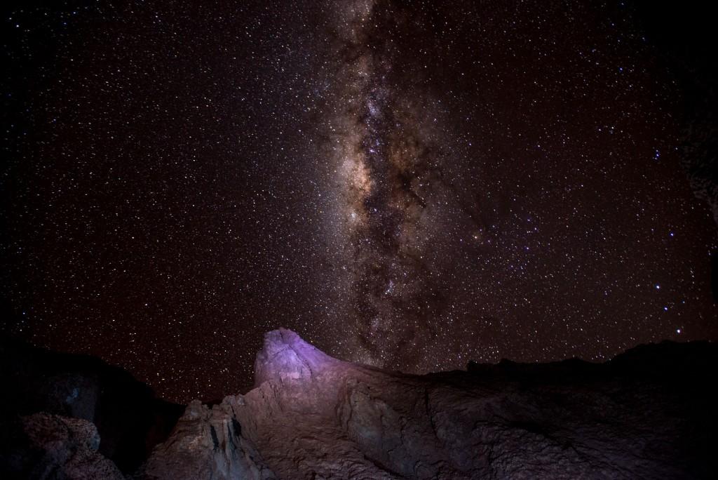 View of night sky in Atacama Desert