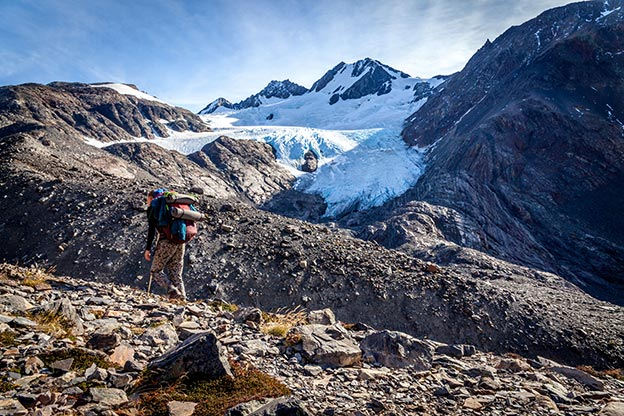 Trekking on the John Garner pass on the O trek in the Torres del paine national Park, Patagonia, Argentina