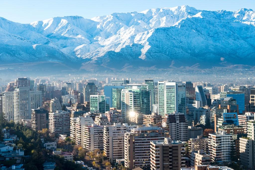 Temperate Mediterranean climate in Santiago de Chile