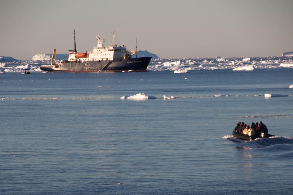 Ship and zodiac in Antarctica