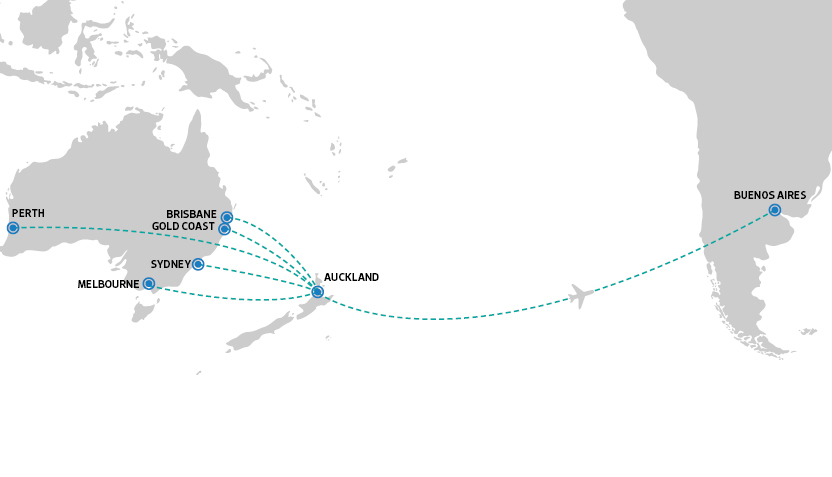 Air NZ Flight paths