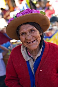 Smiling woman from Latin America Quechua community