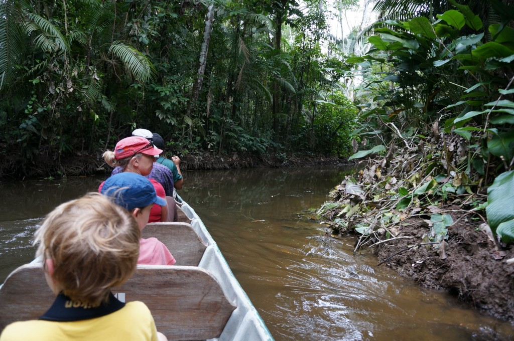 Exploring the Amazon by canoe with the family