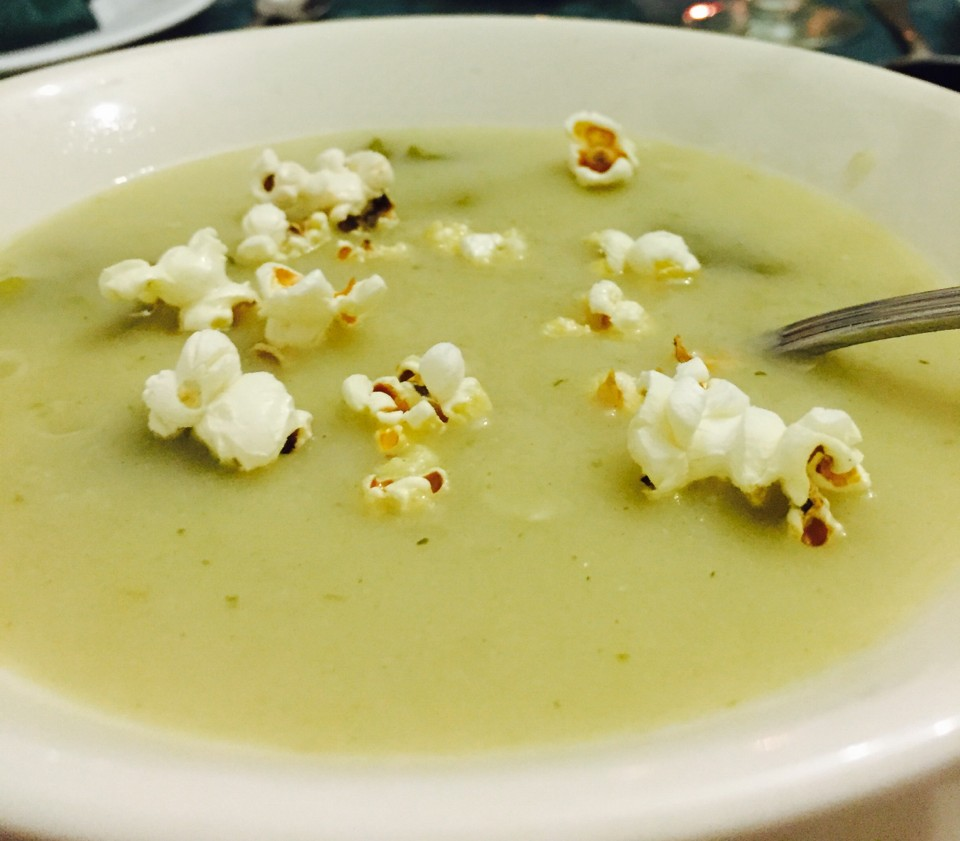 potato soup with popcorn