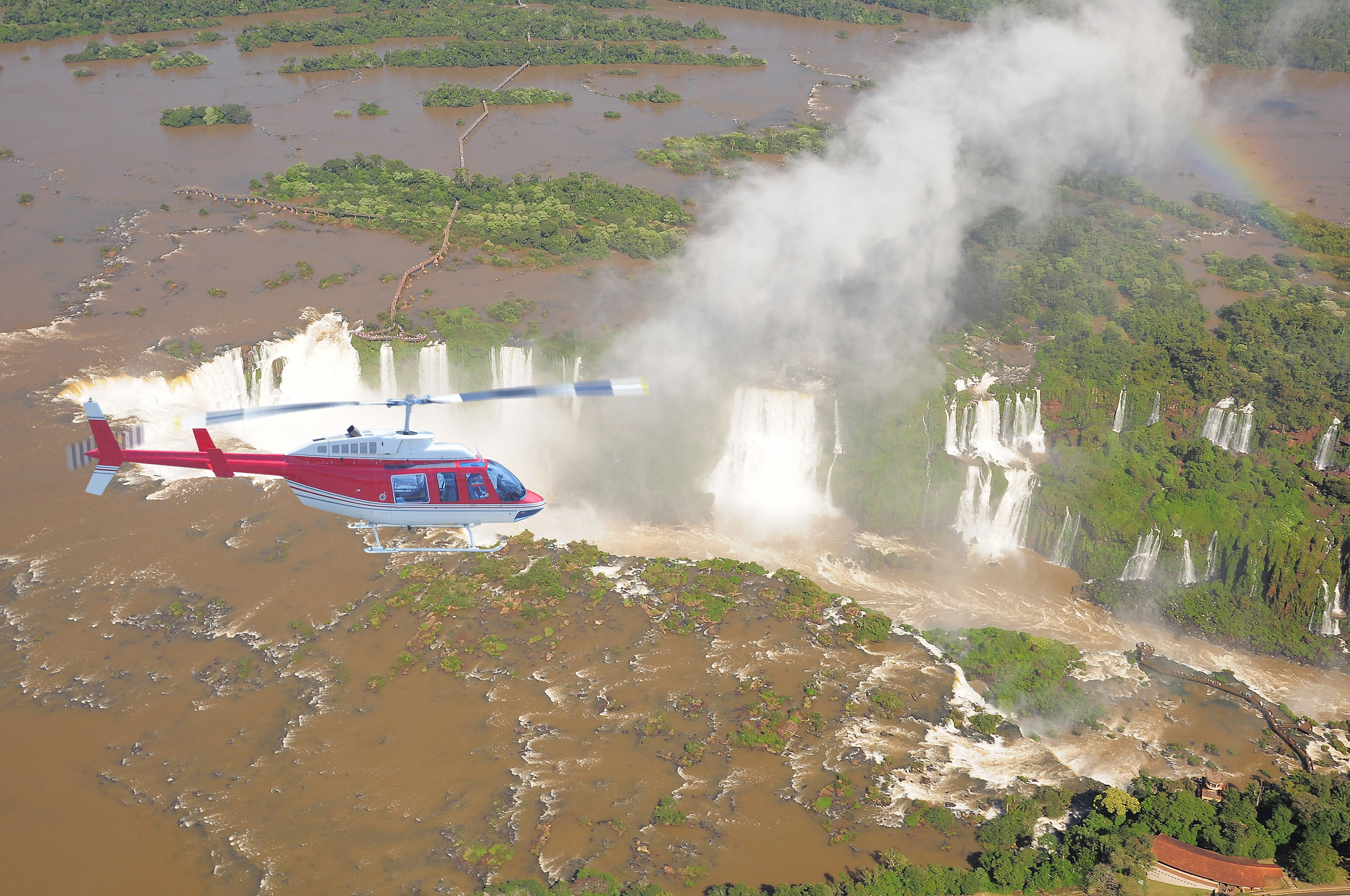 Helicopter above Iguazu Falls.