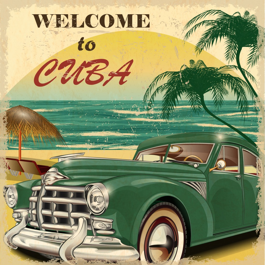 Poster in Cuba with Vintage car