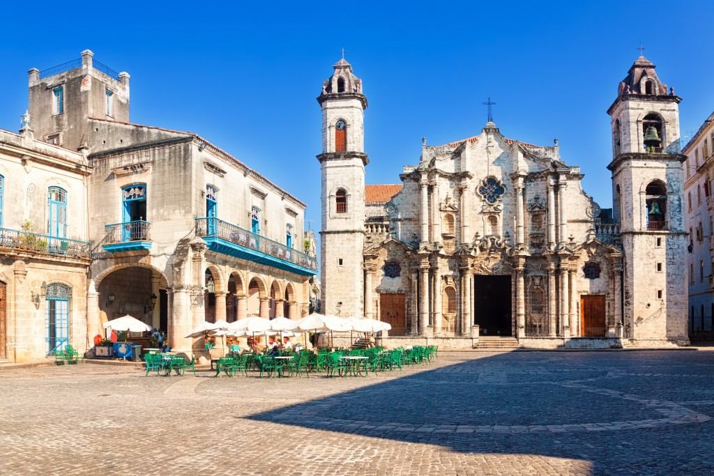 a cathedral in havanna cuba with blue skies