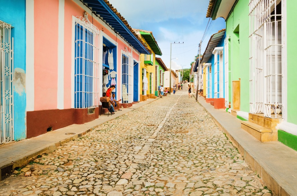 colourful houses on a street in Trinidad Cuba