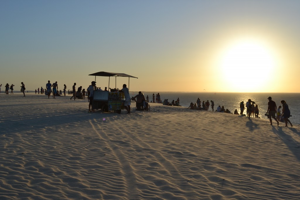 beach with sunset and foodstall in Jericoacoara Brazil