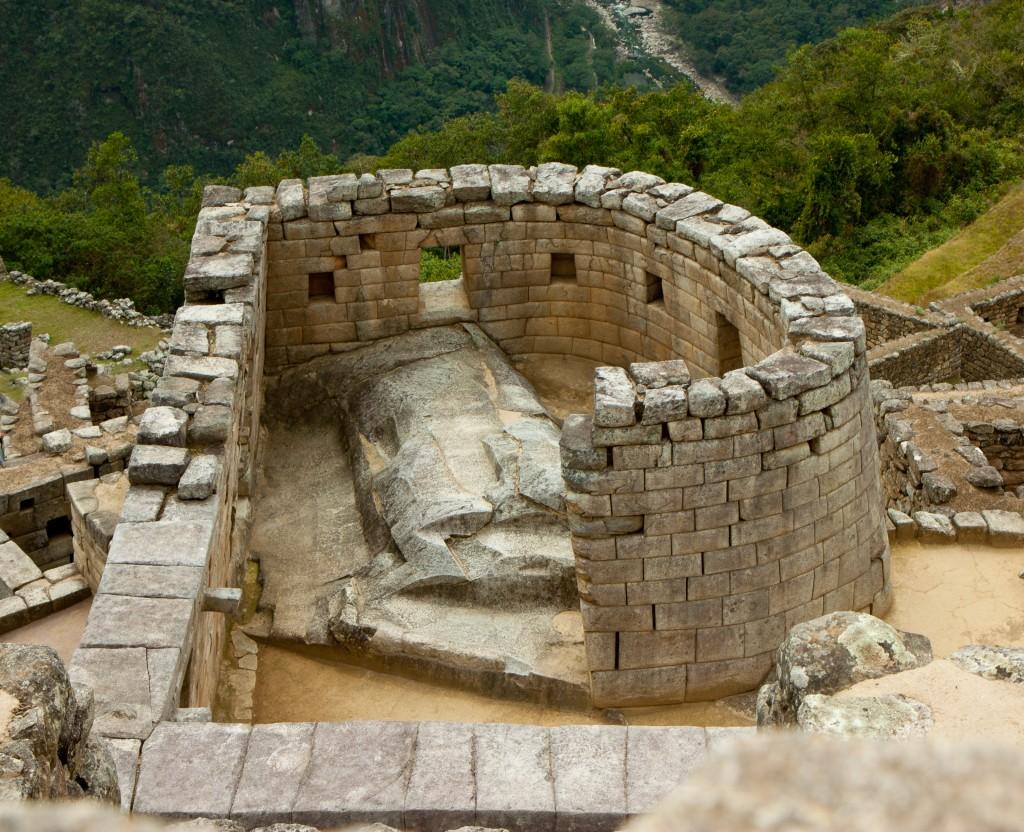 The ruins of the Temple of Sun in the Machu Picchu in Peru