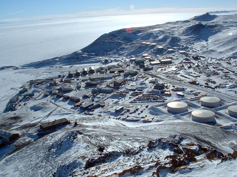 McMurdo Station, buildings in the snow
