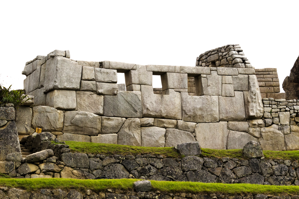 A ruin of the Temple of the Three WIndows at the Machu Picchu in Peru