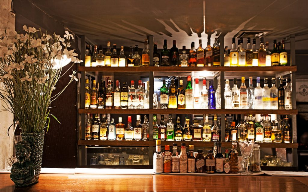 bar with many bottles of liqor