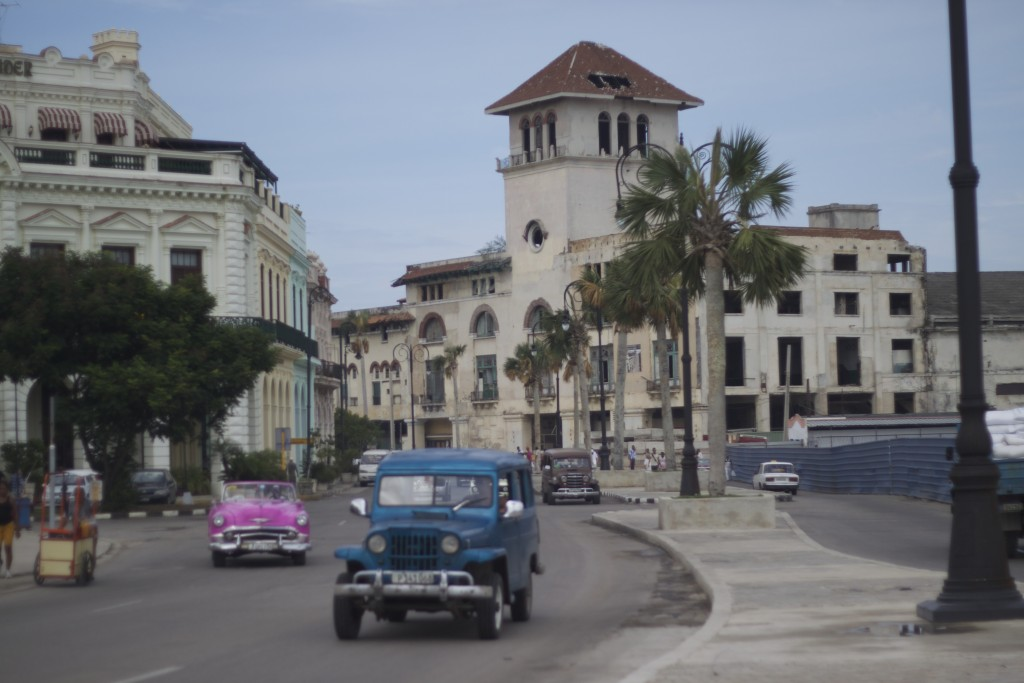 street with vintage cars in Cuba