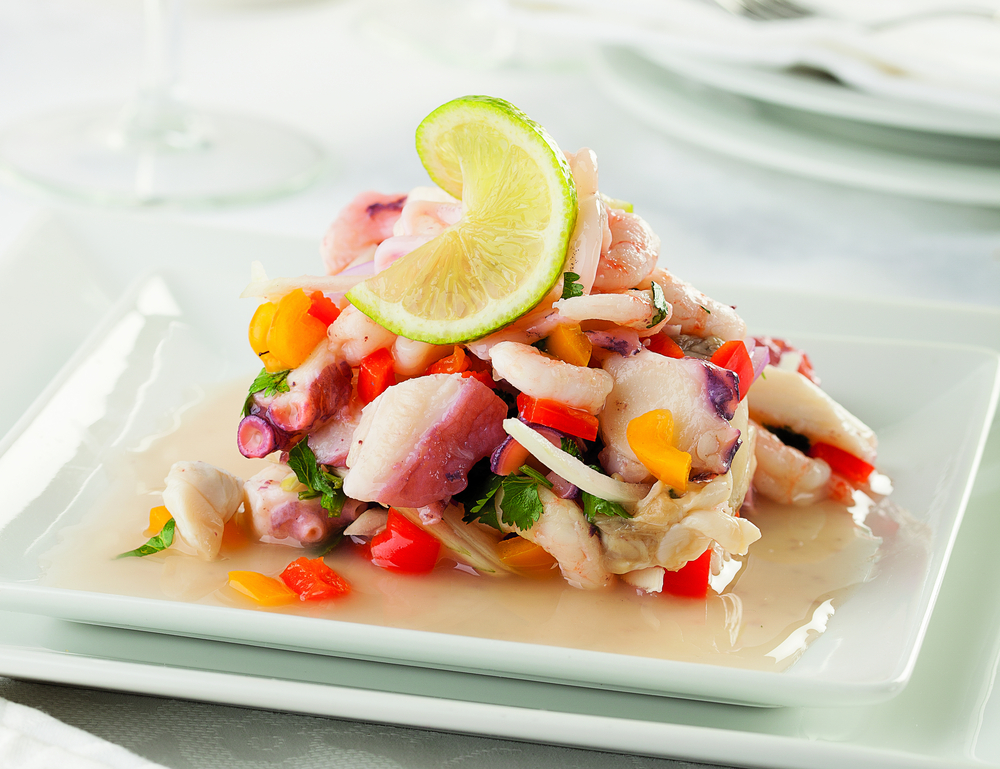 Ceviche, a typical Peruvian dish