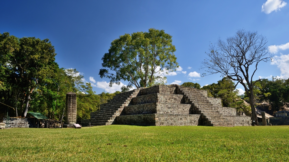 Copan: Ancient Mayan Ruins in background and green grass foreground.
