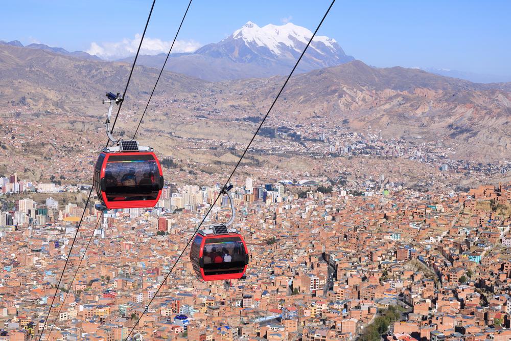 cable car above a big city bolivia