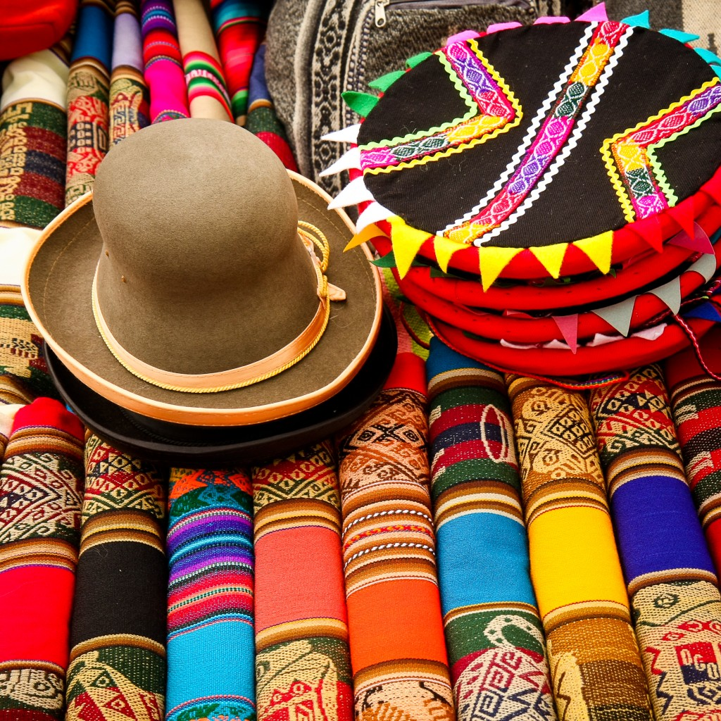 Colourful fabric and hats in Peru