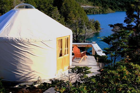 The yurts at the Patagonia Camp.