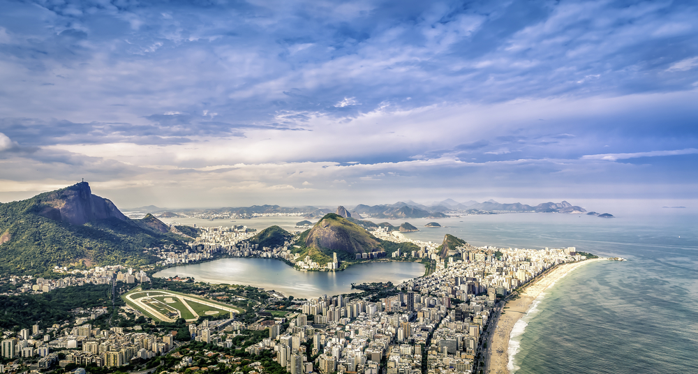 aerial view over rio in brazil