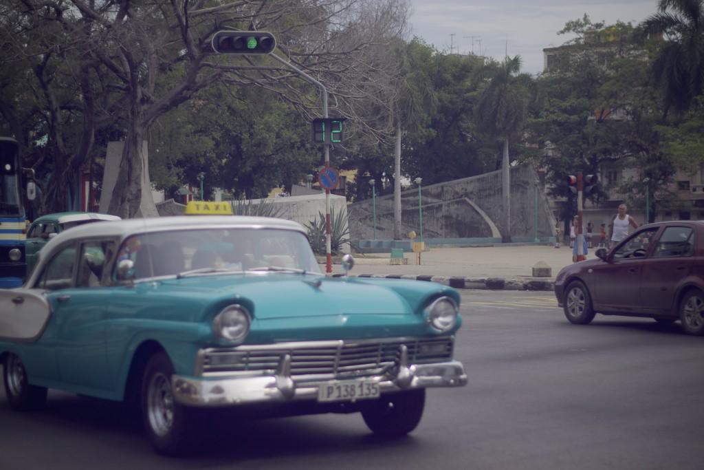 blue vintage car in Cuba