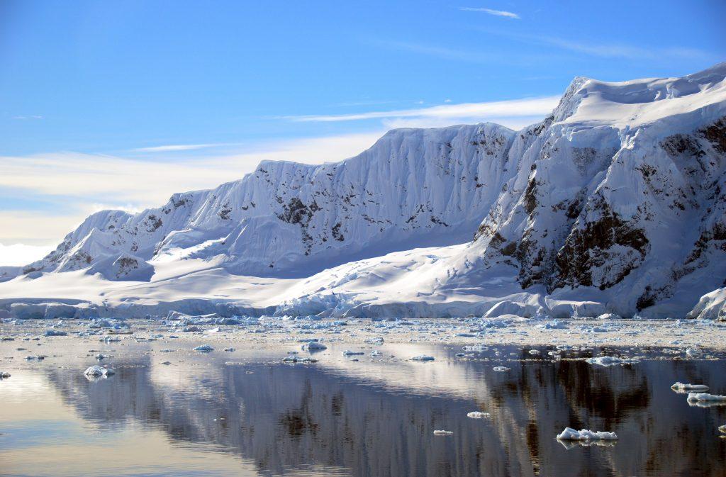 snowy mountain range in Antarctica