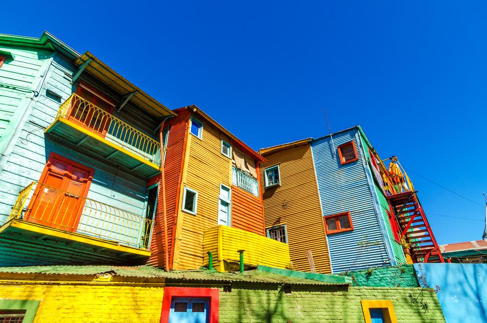 Coloured houses and a blue sky