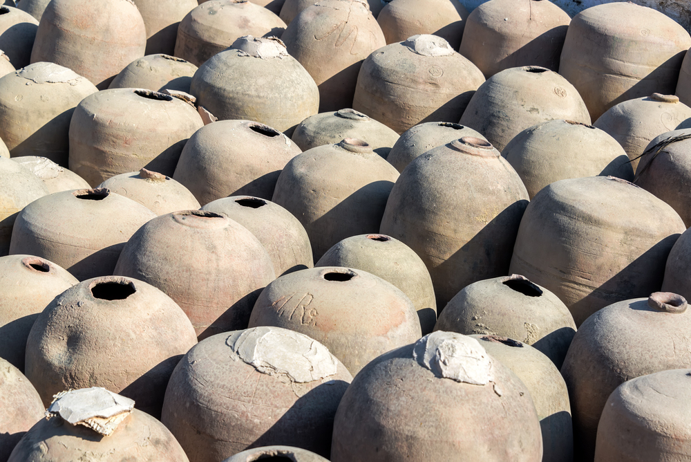 Clay jars previously used in the production of pisco in Ica, Peru