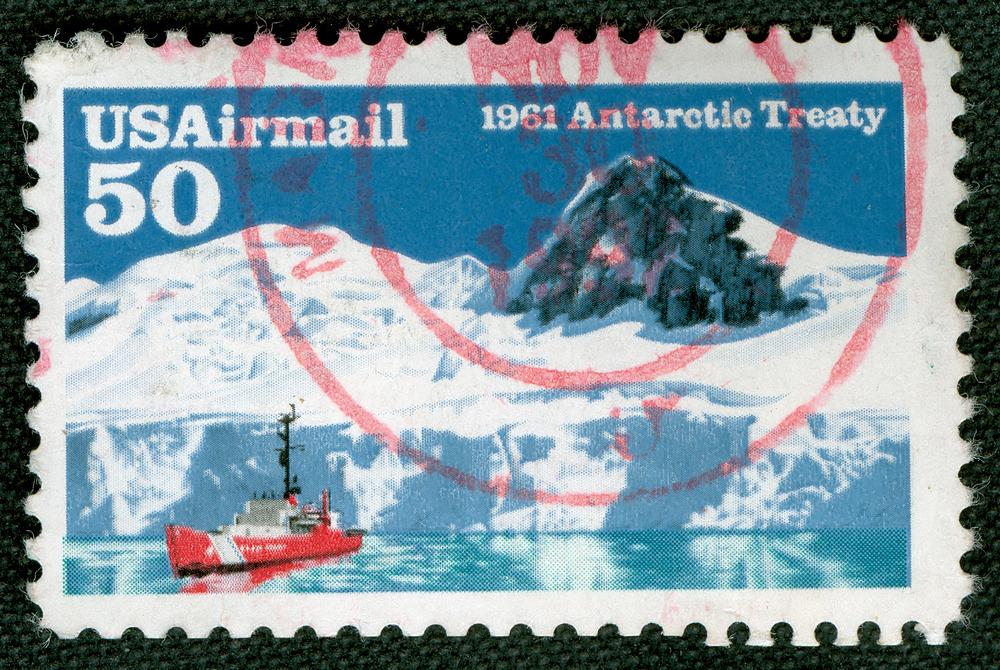 Antarctic timeline: old stamp antarctica