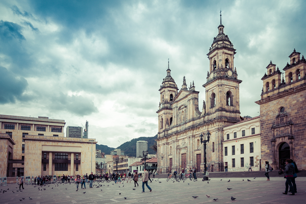 cathedral on square with grey sky bogota colombia