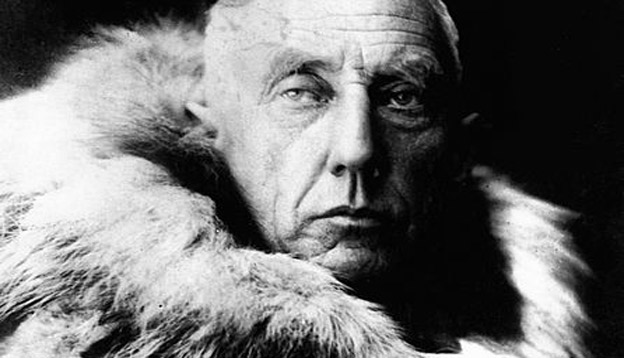 Roald Amundsen wrapped in fur skins. Photo Credit: Encyclopedia Britannica