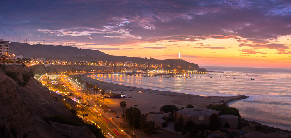 sunset over bay lima