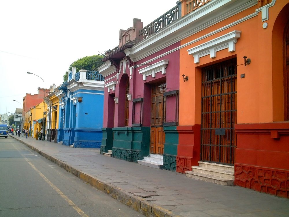 coloured houses in The area of Barranco in Lima.