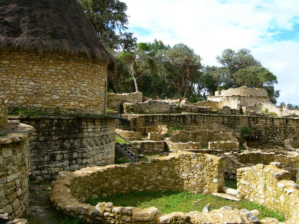 ruins of fortress of kuelap in peru in the rain forest