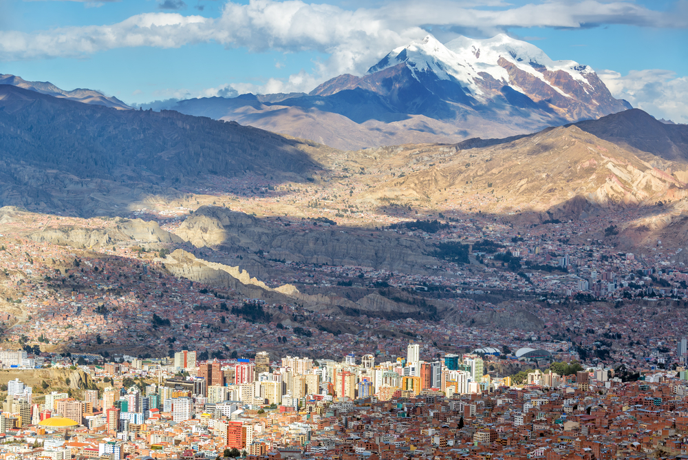 The city of La Paz, Bolivia with mountains in the background