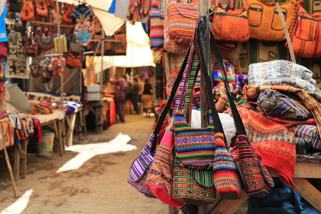 market in peru with folkore items