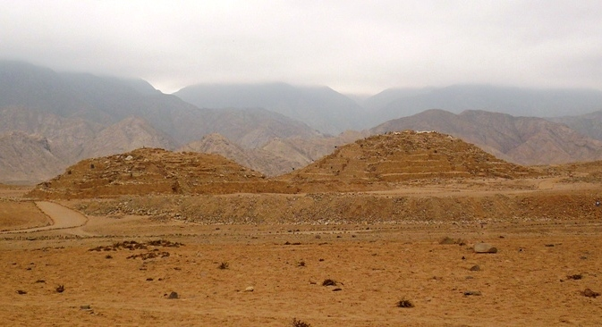 ancient ruins of Pyramids of Caral in Peru