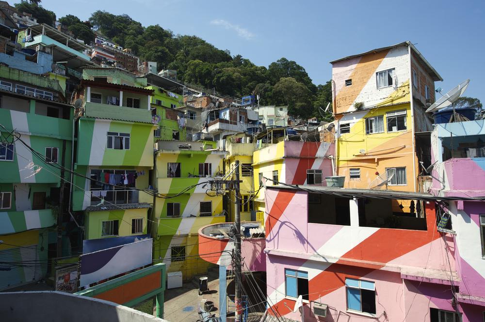 coloured hosues in a slum in brazil